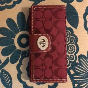 Coach signature turn lock wallet